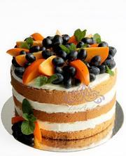 Naked cake с имбирем,  медом и ягодами
